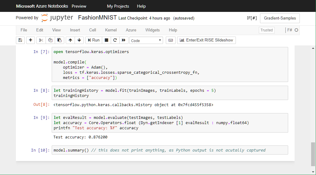 F# Jupyter Notebook screenshot